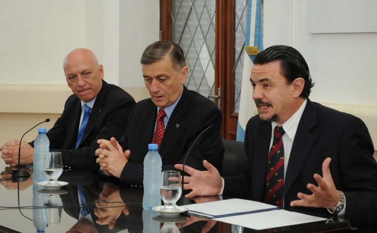 El Gobernador Bonfatti, el ex gobernador Binner y el Ministro de Gobierno y Reforma del Estado Galassi